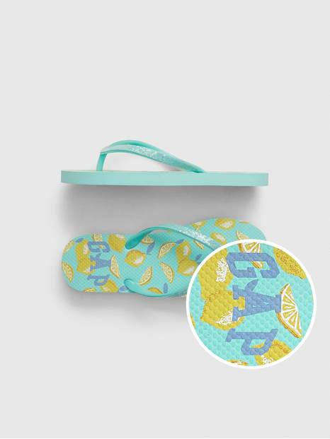 Kids Gap Logo Lemon Flip Flops