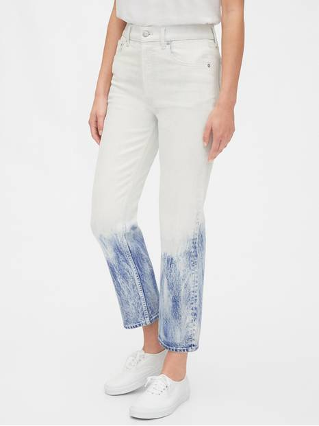 High Rise Bleached Cheeky Straight Jeans