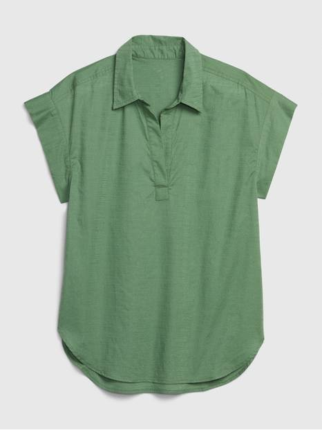 Short Sleeve Collared Popover Top