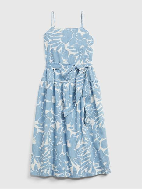 Apronneck Print Denim Maxi Dress