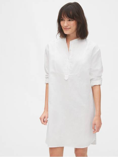 Long Sleeve Shirtdress in Linen-Cotton