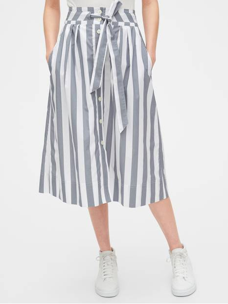 Tie-Belt Button-Front Stripe Midi Skirt
