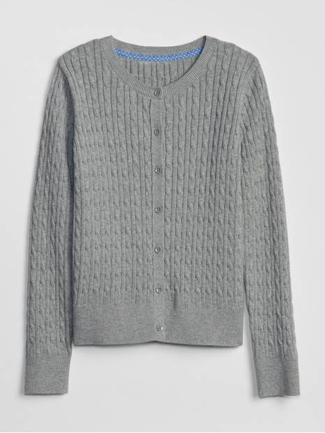 Kids Uniform Cable-Knit Cardigan Sweater
