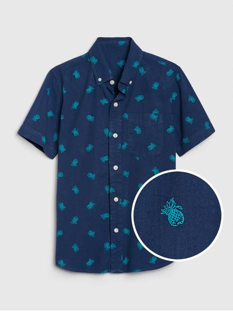 Kids Pineapple Button-Down Shirt