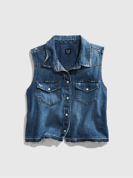 Teen Cropped Denim Shirt