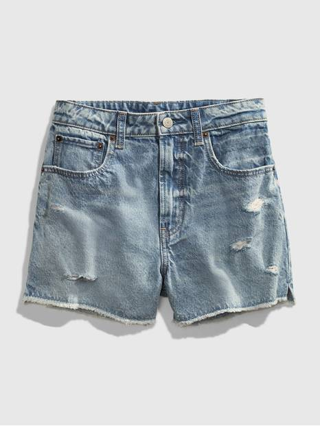 Teen Distressed Light Wash Denim Shorts