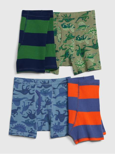 Kids Dinosaur and Stripes Boxer Briefs (4-Pack)