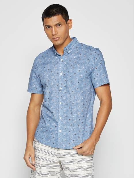 Slim-Fit Poplin Short Sleeve Shirt