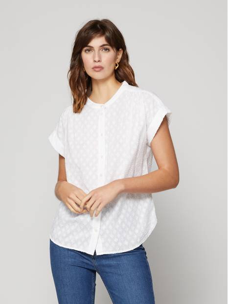 Button-Front jacquard Top