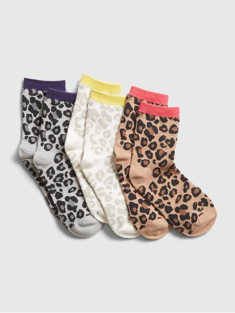 Kids Leopard Print Crew Socks (3-Pack)