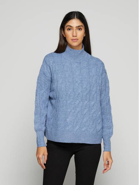 Cable-Knit High Neck Slouchy Sweater