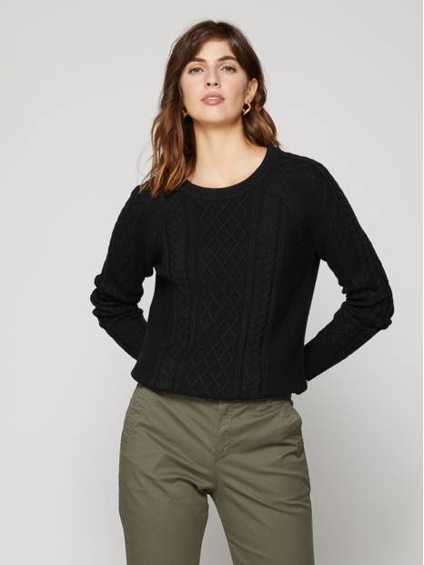 Raglan Sleeve Cable-Knit Sweater