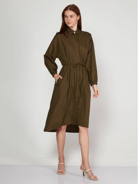 Tie-Waist Midi Shirtdress