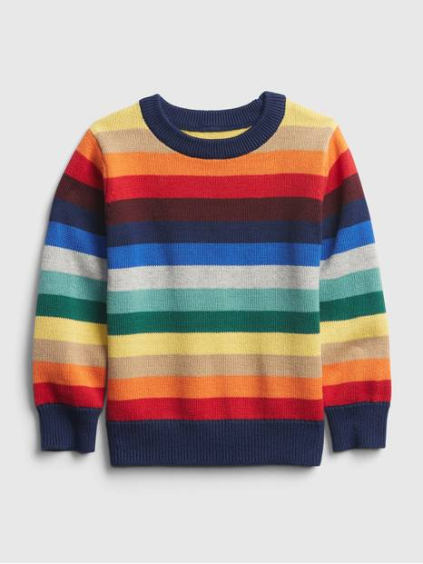 Toddler Happy Stripe Crewneck Sweater