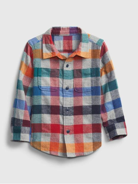 Toddler Rainbow Flannel Shirt