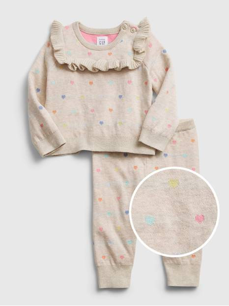 Baby Heart Sweater Outfit Set