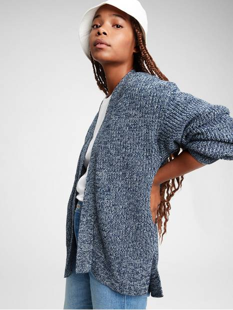 Shaker Side-Split Cardigan