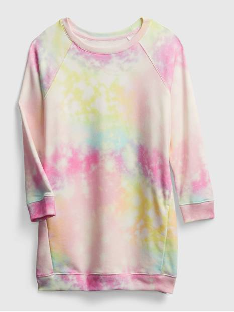 Kids Tie-Dye Crewneck Sweatshirt Dress