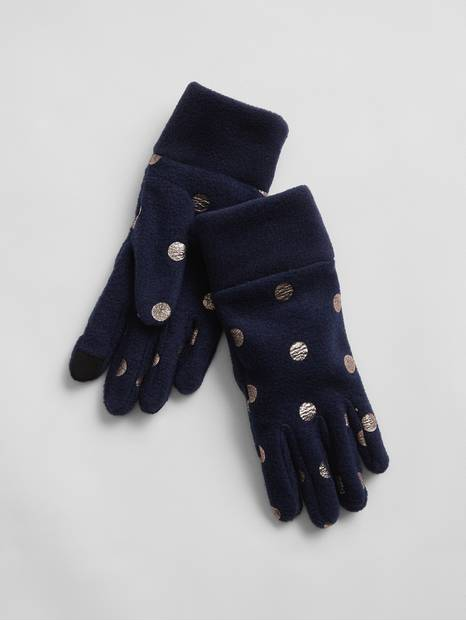 Kids Dot Fleece Gloves