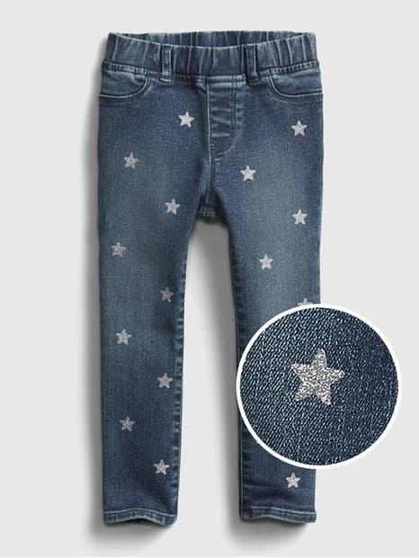 Toddler Glitter Star Pull-On Jeggings with Stretch