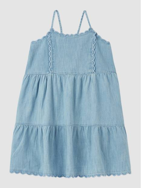 Kids Scalloped Tiered Denim Dress