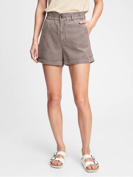 High Rise Paperbag Shorts with Washwell&#153
