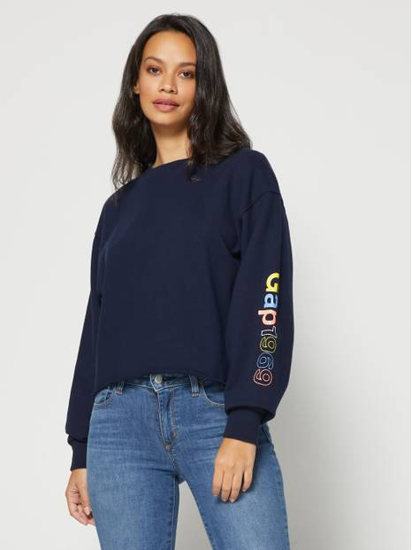 Gap 1969 Crop Raw Edge Pullover