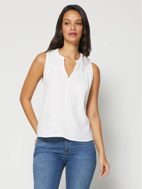 Sleeveless Gauze Top