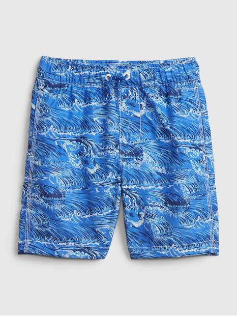 Kids Recycled Printed Swim Trunks