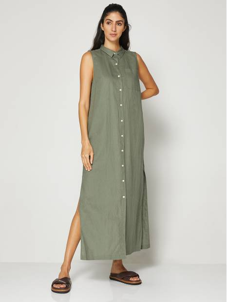 Linen-Cotton Maxi Shirtdress